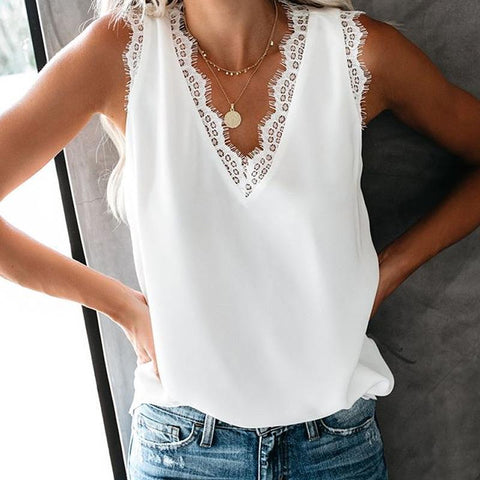 Athleisure Sleeveless Lace Pure Colour V Neck Tank Top