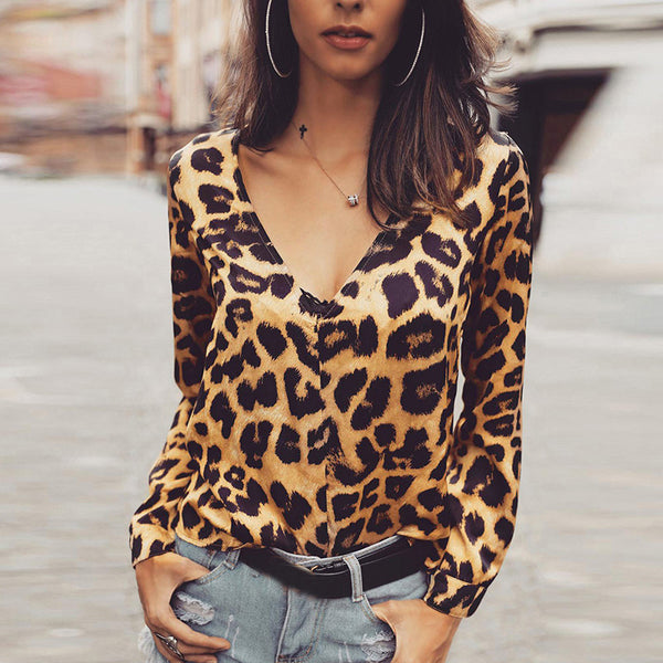 Fashion V Neck Leopard Print Long Sleeve Loose Splicing Top