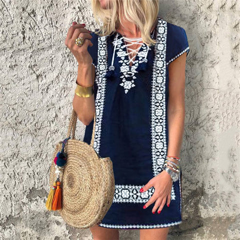Short Sleeve Printed Lace Up Casual Vacation Dress
