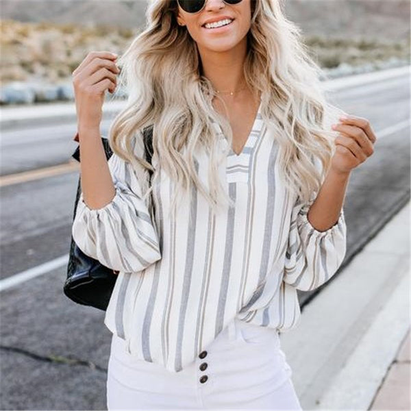 Women's V-Neck Striped Long-Sleeved Top