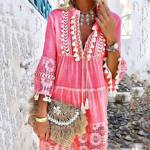 V-Neck Lace Fringe Vacation Casual Dress