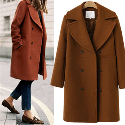 Women's Lapel Double-Breasted Medium Woolen Coat