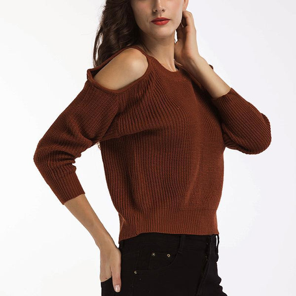 Women's Round Neck Off-Shoulder Sweater