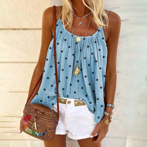 Casual Sling Polka Dot Loose Tank Top