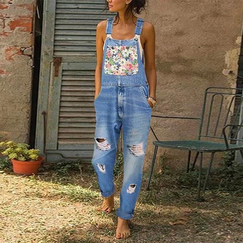Fashion Printed Stitching Denim Jeans Jumpsuits
