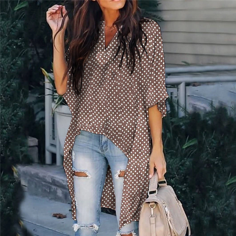 Casual V-Neck Polka Dot Half Sleeve Long Top
