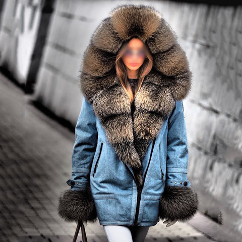 Fashion hooded fur collar blue thick coat