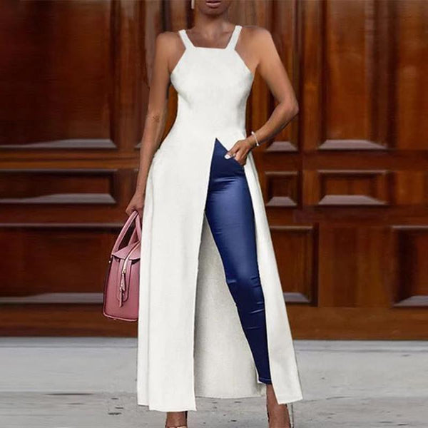 Solid Color Sleeveless High Slit Long Top