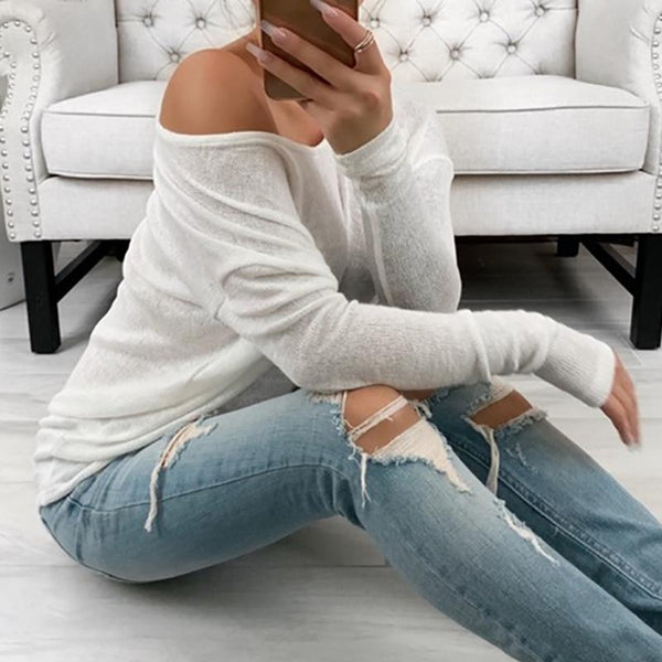 Casual V Neck Long Sleeve Pure Colour Loose T-Shirt