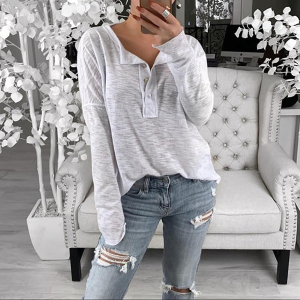 Casual V Neck Pure Colour Button Long Sleeve T-Shirt