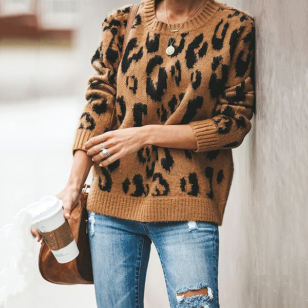 Women's Casual Printed Color Long Sleeve Loose Sweater