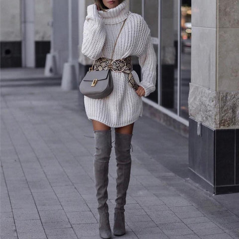 Casual High Neck White Long Sweater