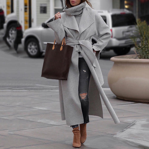 Women's Fashion Belted Long Sleeve Turndown Collar Overcoat