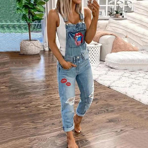 Casual Pure Colour Broken Hole Jeans Jumpsuits