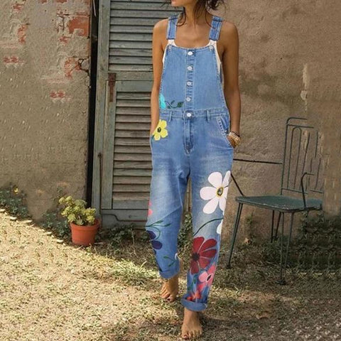Casual Sling Floral Pattern Jeans Jumpsuits