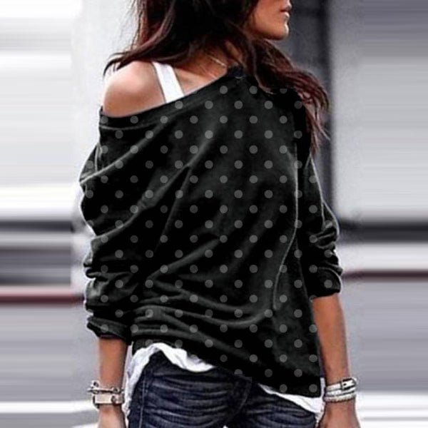 Casual Polka Dot Off-Shoulder Sweater