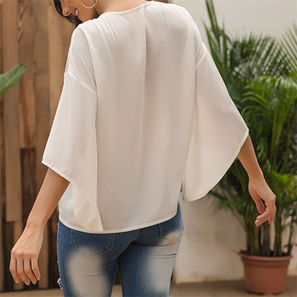 Fashion Solid Color Cross V-Neck Flare Sleeve T-Shirt