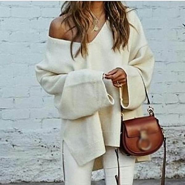 Casual Deep V Neck Loose Long Sleeve Slit Sweater