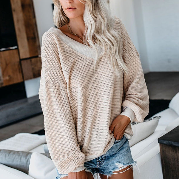 Casual V-Neck Waffle Strapless Lantern Sleeves T-Shirt Top