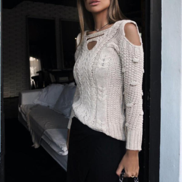 Fashion Casual Shoulder Out Long Sleeves Sweater