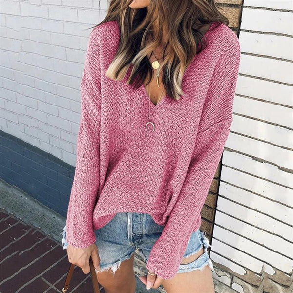 Casual Deep V-Neck Long Sleeve Sweater