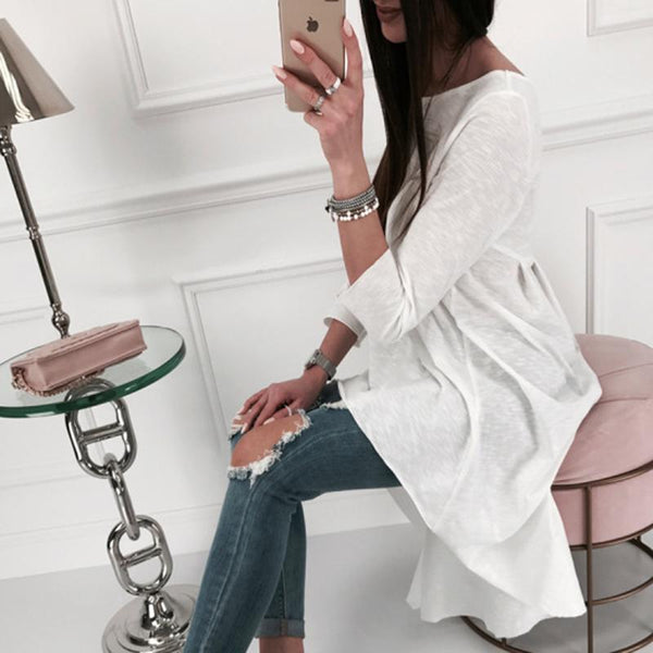 Casual Solid Color Irregular Round Neck Long-Sleeved T-Shirt
