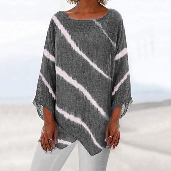 Casual Loose Round Neck Long Sleeves Striped Shirt