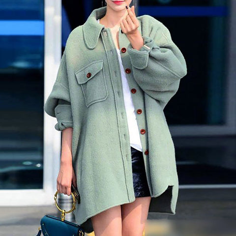 Casual Solid Color Lapel Single-Breasted Long-Sleeved Woolen Coat