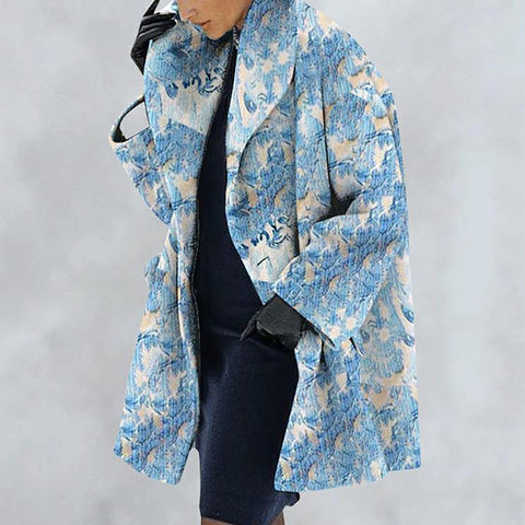 New Warm Fashion Print Shawl Collar Coat