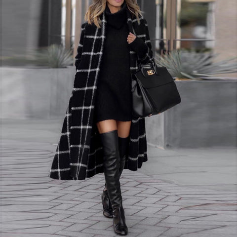 Fashion Fold-Over Collar Plaid Pattern Ladies Coat
