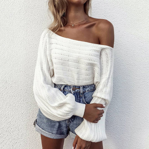 Women's Fashion Off-shoulder Bishop Sleeve Sweater