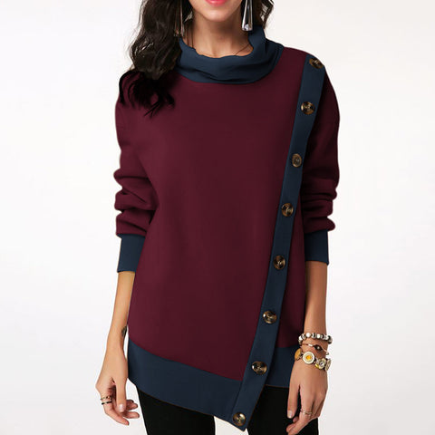 Women Casual Button Patchwork Asymmetric Sweatshirt