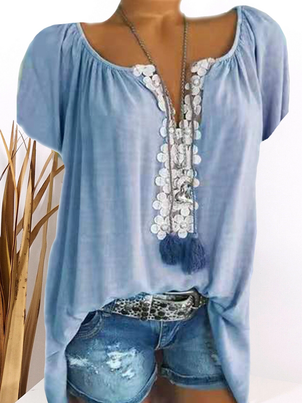 V Neck Patchwork Lace Plain T shirts