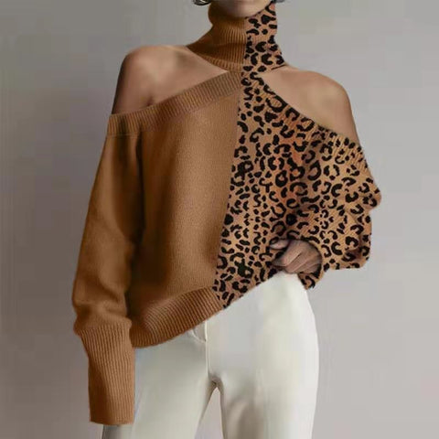 Fashion Off-Shoulder Leopard Print Sweater