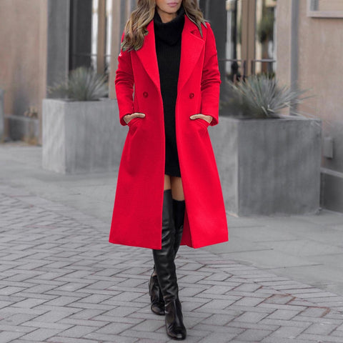 Fashion Casual Wide Lapel Plain Slim Long Woolen Coat