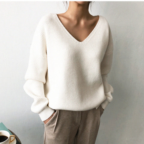 Women's casual deep- v neck pure color loose sweater
