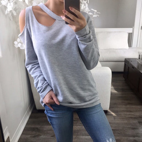 Casual round neck off-the-shoulder solid color loose long-sleeved T-shirt