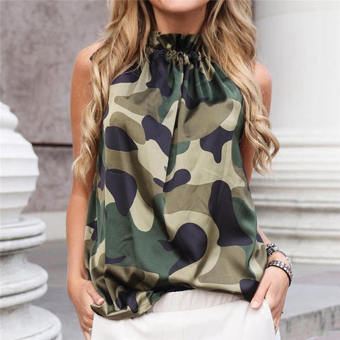 Casual Sleeveless Pleated Printed Colour Off-Shoulder Tops