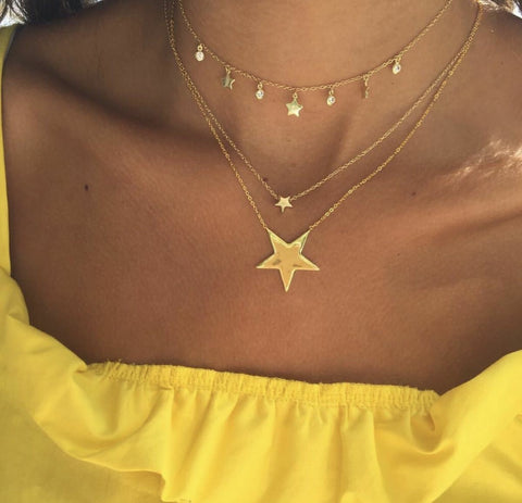 Women's fashion five-pointed star multi-layer necklace