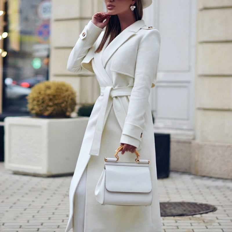 Noble Temperament Pure White Lapel Double Buckle Long Overcoat
