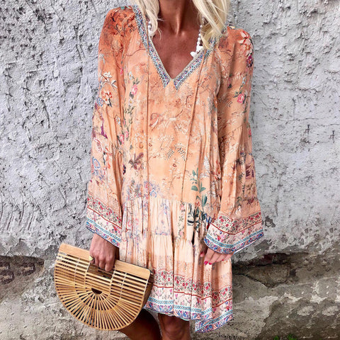Plus Floral V Neck Bell Sleeve Tunic Dress Summer Loose Mini Dress