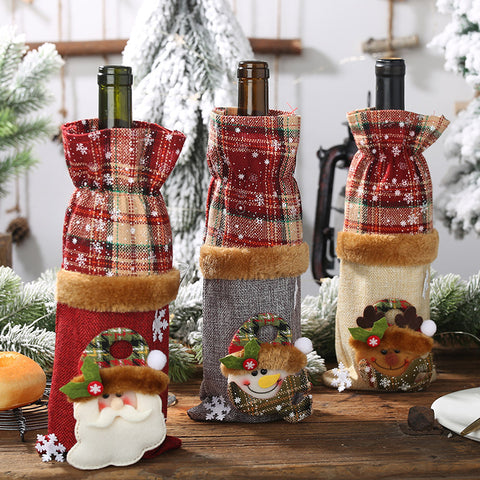 Christmas ornament plaid linen wine bottle cover