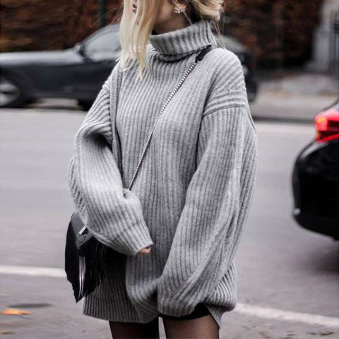 High collar loose long sweater