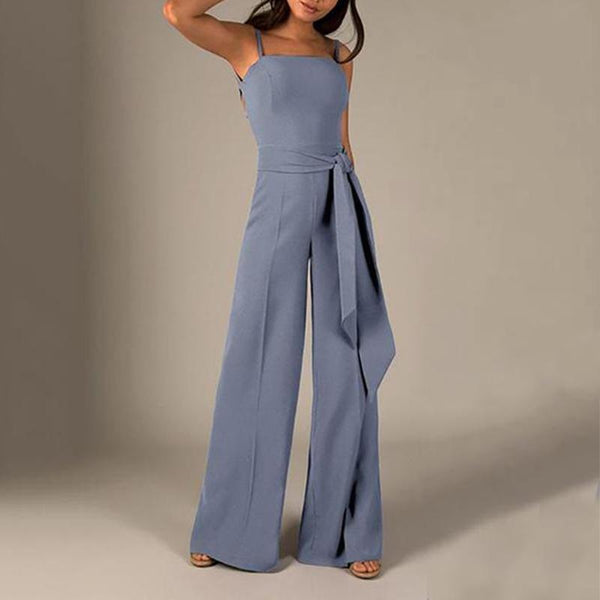 Commuting Bare Back Boat Neck Belted Jumpsuit