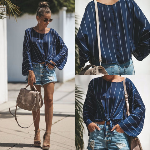 Casual Striped Round Neck Shirt