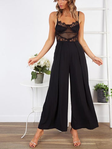 Sexy Sling Lace Hollow Backless Slim-Fit Jumpsuit