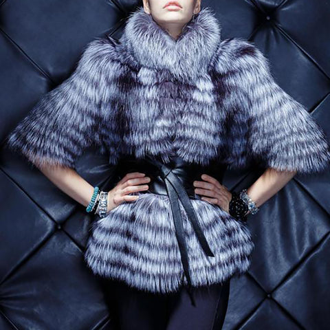 Fashion Halflong Sleeve Faux Fur Coat