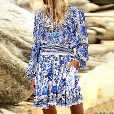 Casual V Neck Printed Long Sleeve Mini Dress