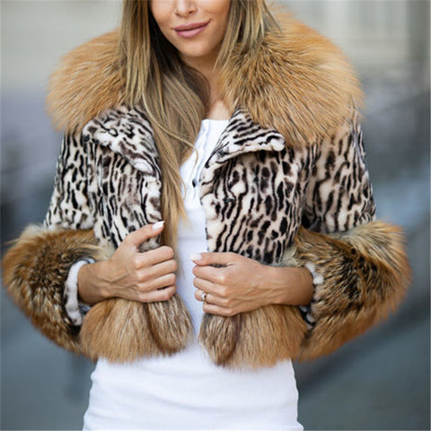 Fashion Leopard Faux Fur Short Jacket
