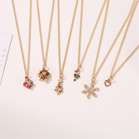 Cute joyous Christmas snowflake crutch pendant necklace
